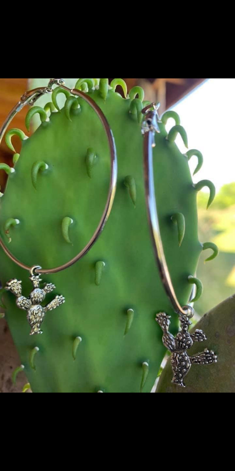 Small Cactus Hoop Earrings