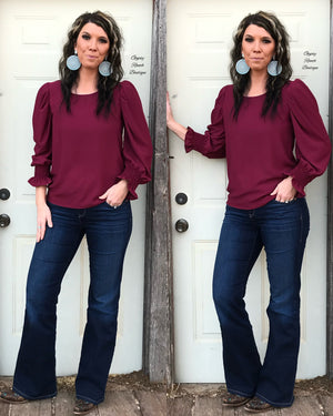 Holland Burgundy Smocked Top - Also in Plus Size