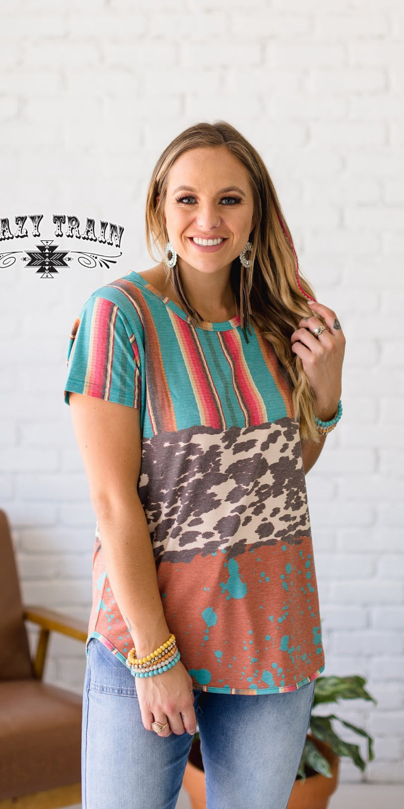 Tejas Cowhide Serape Top - Also in Plus Size