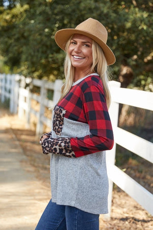Alberta Hills Leopard Buffalo Plaid Top - Also in Plus Size