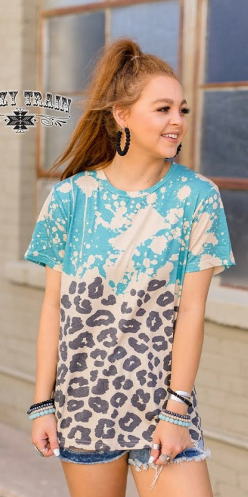 Good Vibin Leopard Turquoise Top - Also in Plus Size