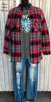 Nashville Turquoise & Red Flannel Button Up Top - Also in Plus Size