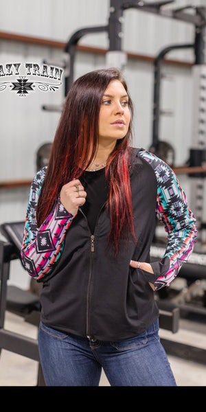 Manhattan Mile Aztec Zip Up Jacket - Also in Plus Size
