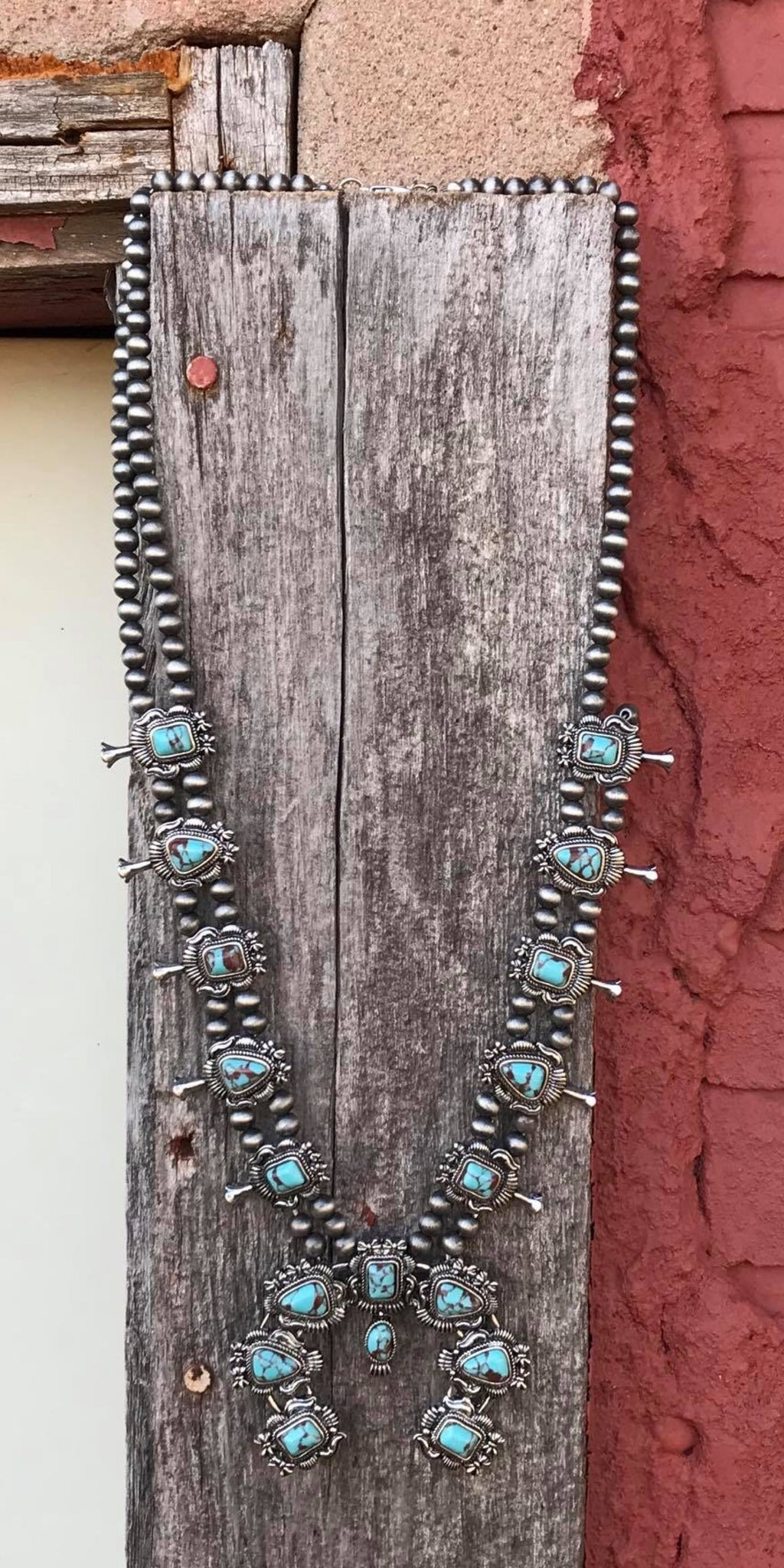 Stamped Turquoise Squash Necklace