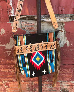 San Lucas Tribal Tooled Leather Purse Tote