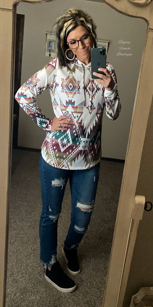Round Top Aztec Hoodie Top-Also in Plus Size