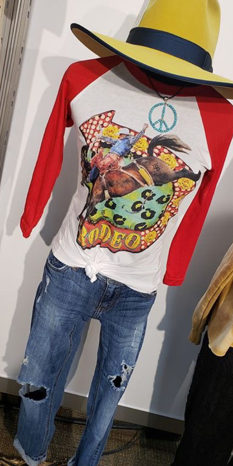 Rodeo Bronc Red Baseball Sleeve Top - Also in Plus Size