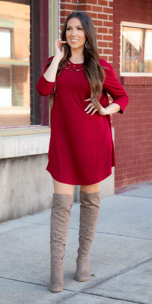 Leddy Wine Criss Cross Tunic Dress - Also in Plus Size