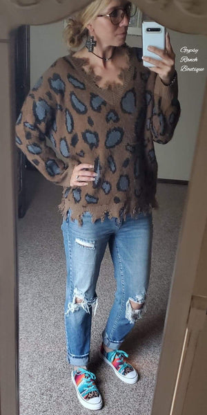 Got the Best of Me Distressed Hem Leopard Soft Top - Also in Plus Size