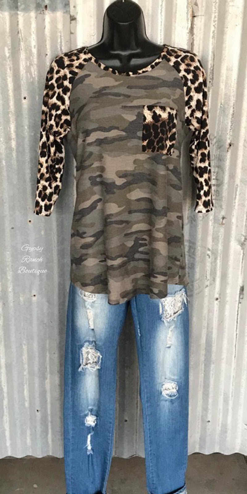 Randolph Camo Leopard 3/4 Sleeve Top - Also in Plus Size