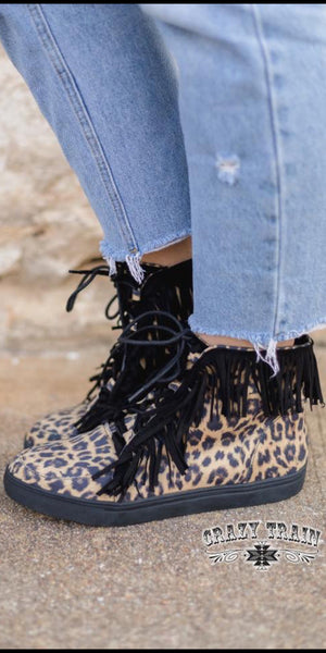 Wild Leopard Fringe Shoes
