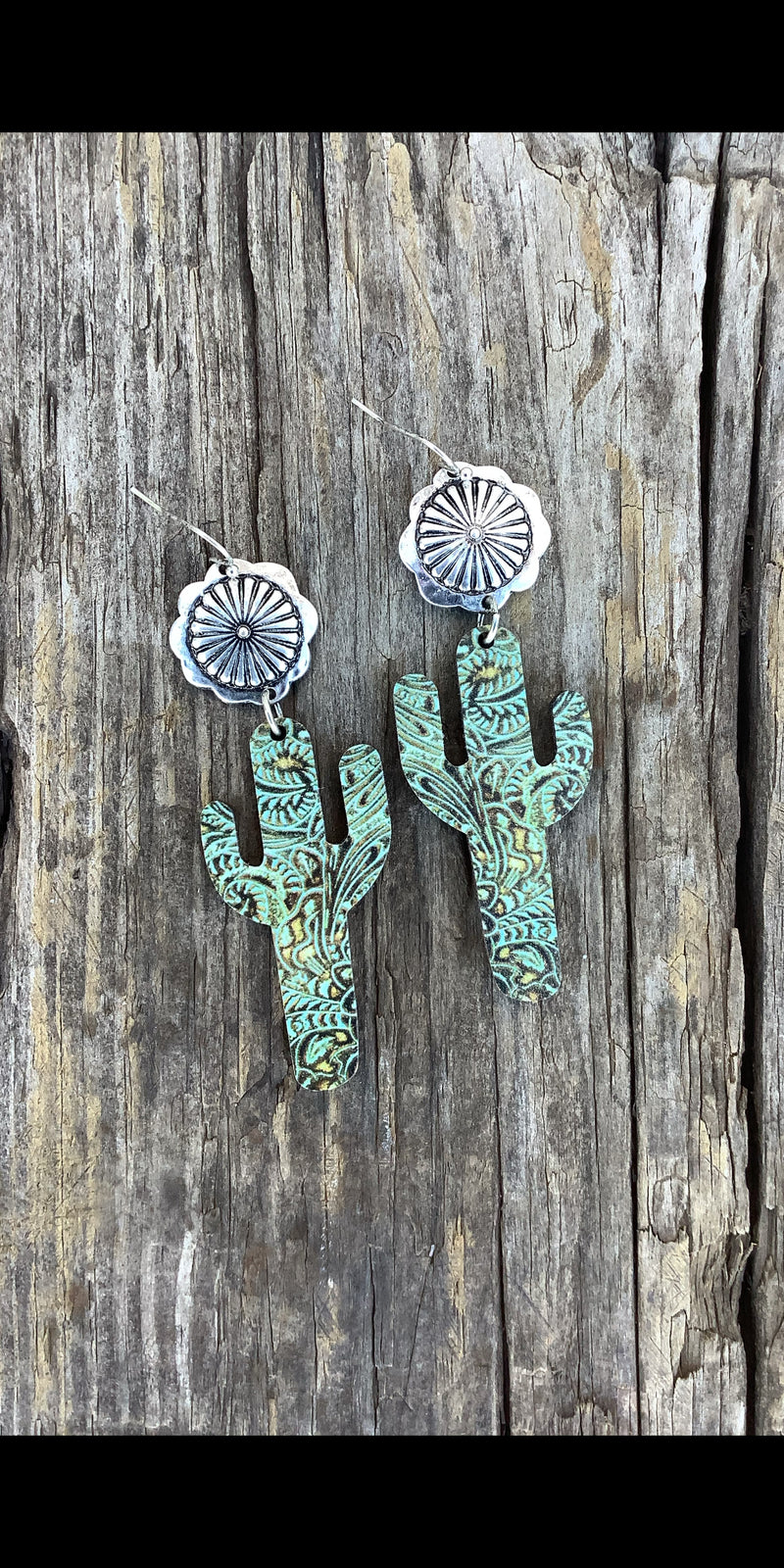Cadence Tooled Cactus Wood Earrings