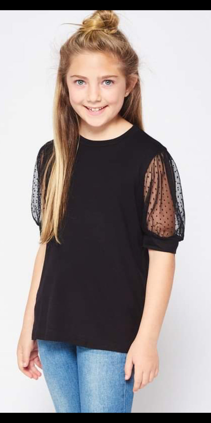 Alvarado Black Detailed Sleeve Kids Top