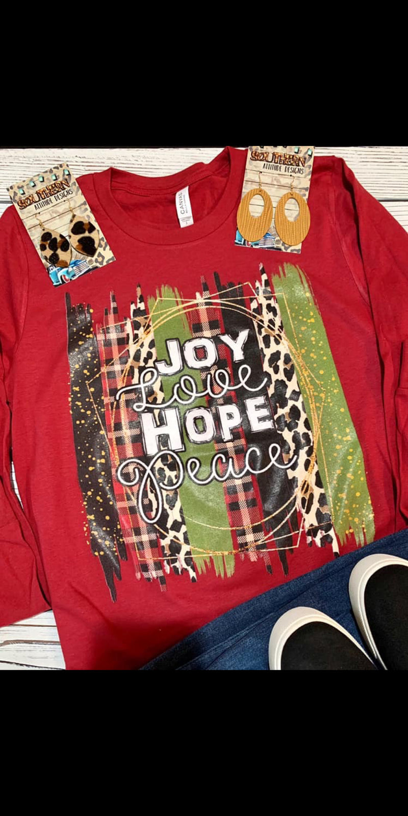 Joy Love Hope Peace Long Sleeve Top - Also in Plus Size