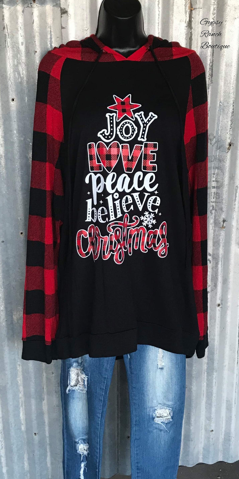 Joy Love Peace Christmas Hoodie Top-Also in Plus Size