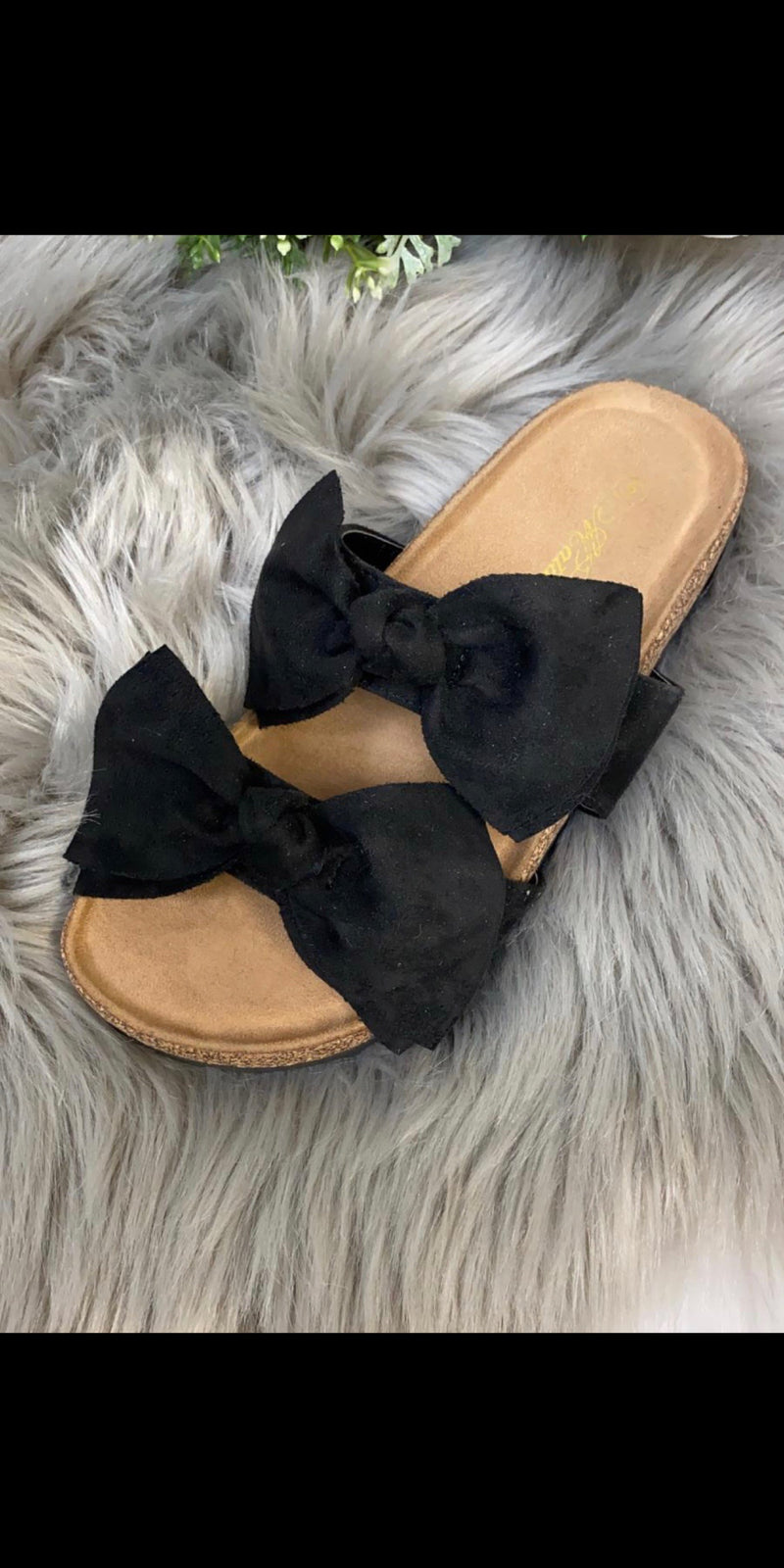 Brogan Black Bow Sandals