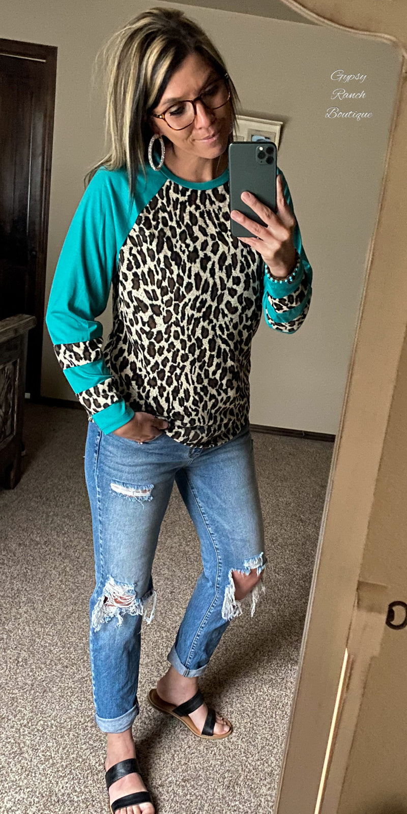 Wimberlee Turquoise Leopard Top - Also in Plus Size