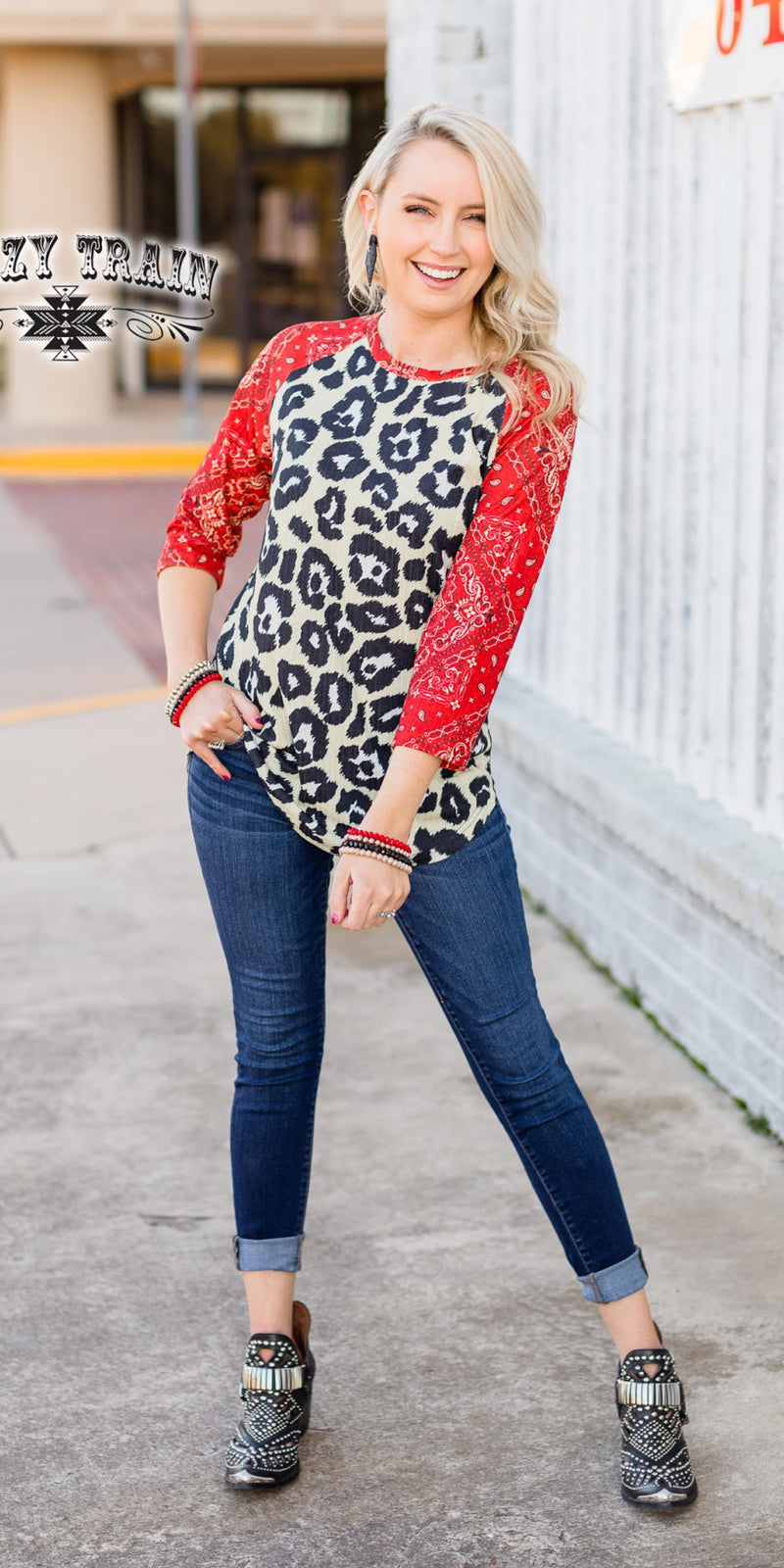 Bandana Babe Leopard Top - Also in Plus Size