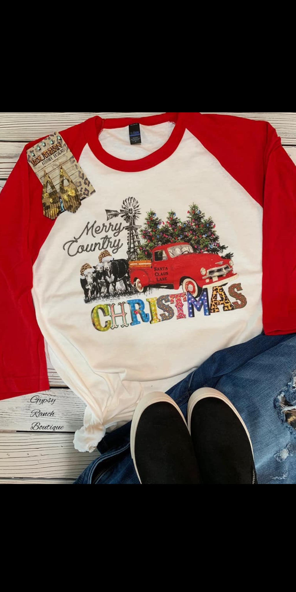 Merry Country Christmas Top - Also in Plus Size