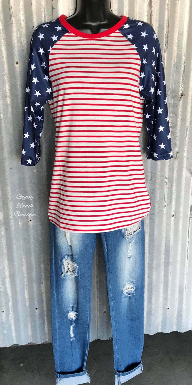 The Stars & Stripes 3/4 Sleeve Top - Also in Plus Size