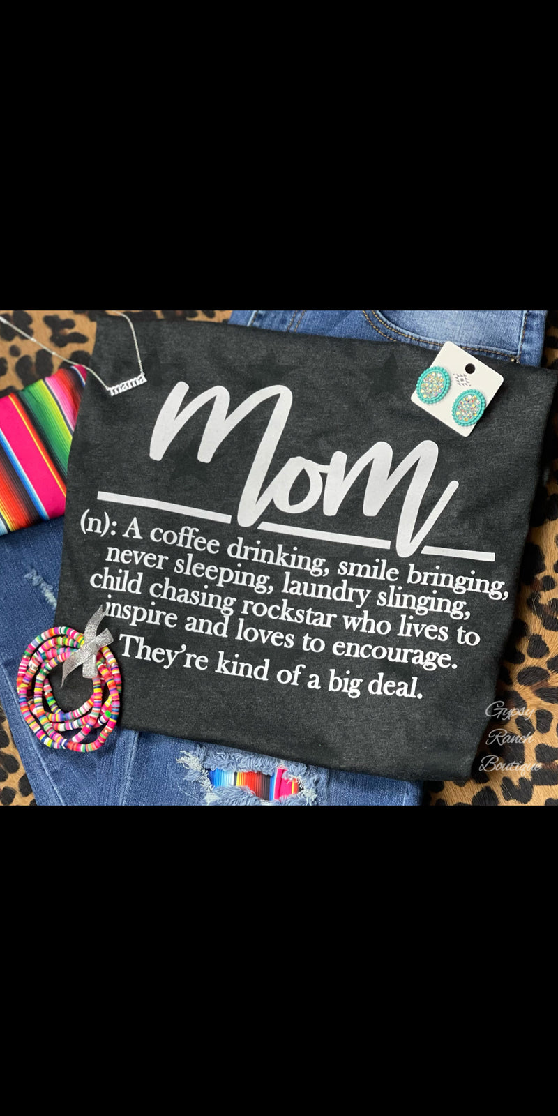 MOM Definition on Black Star Tee - Also in Plus Size
