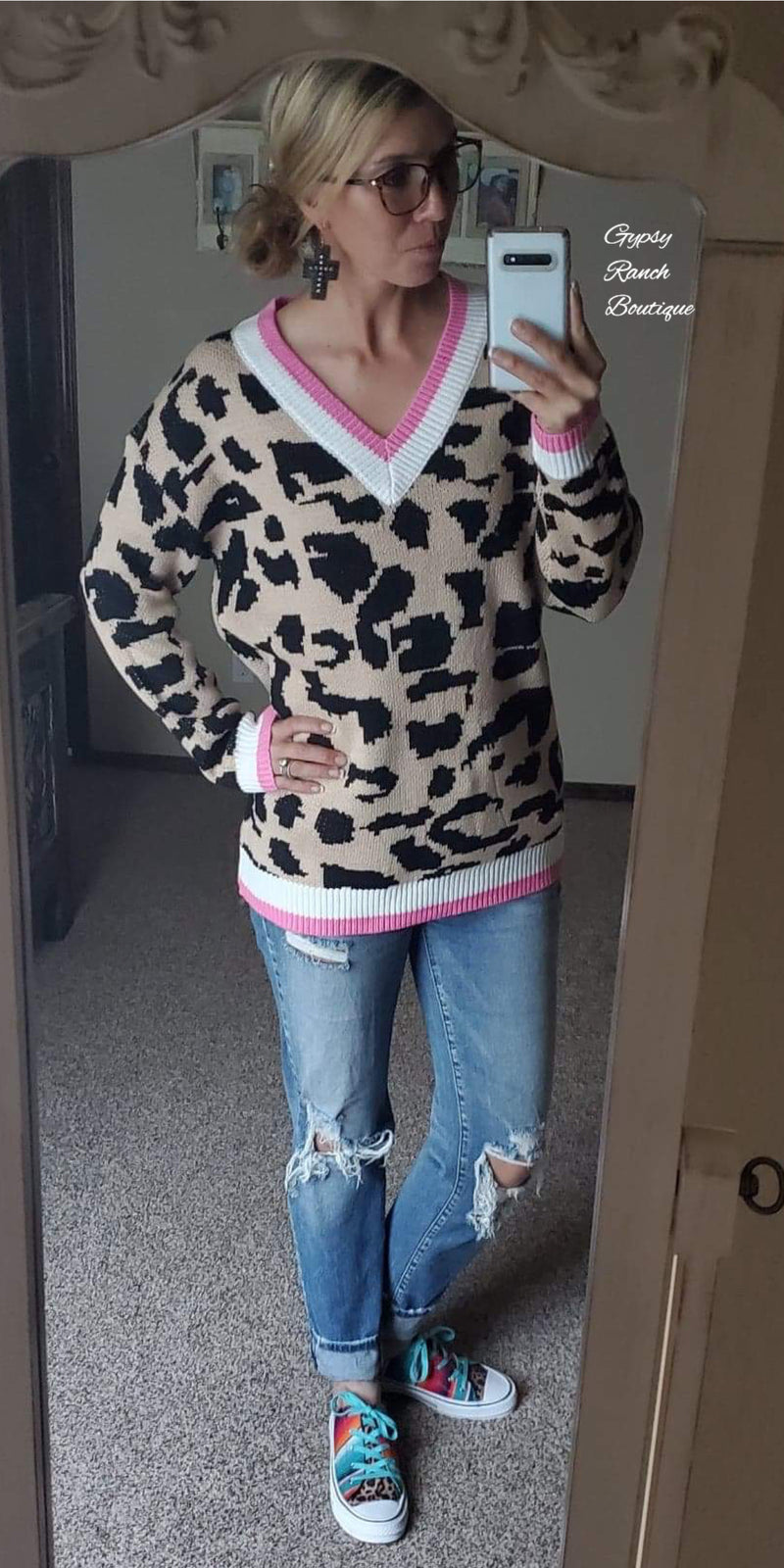 New England Leopard Sweater Top