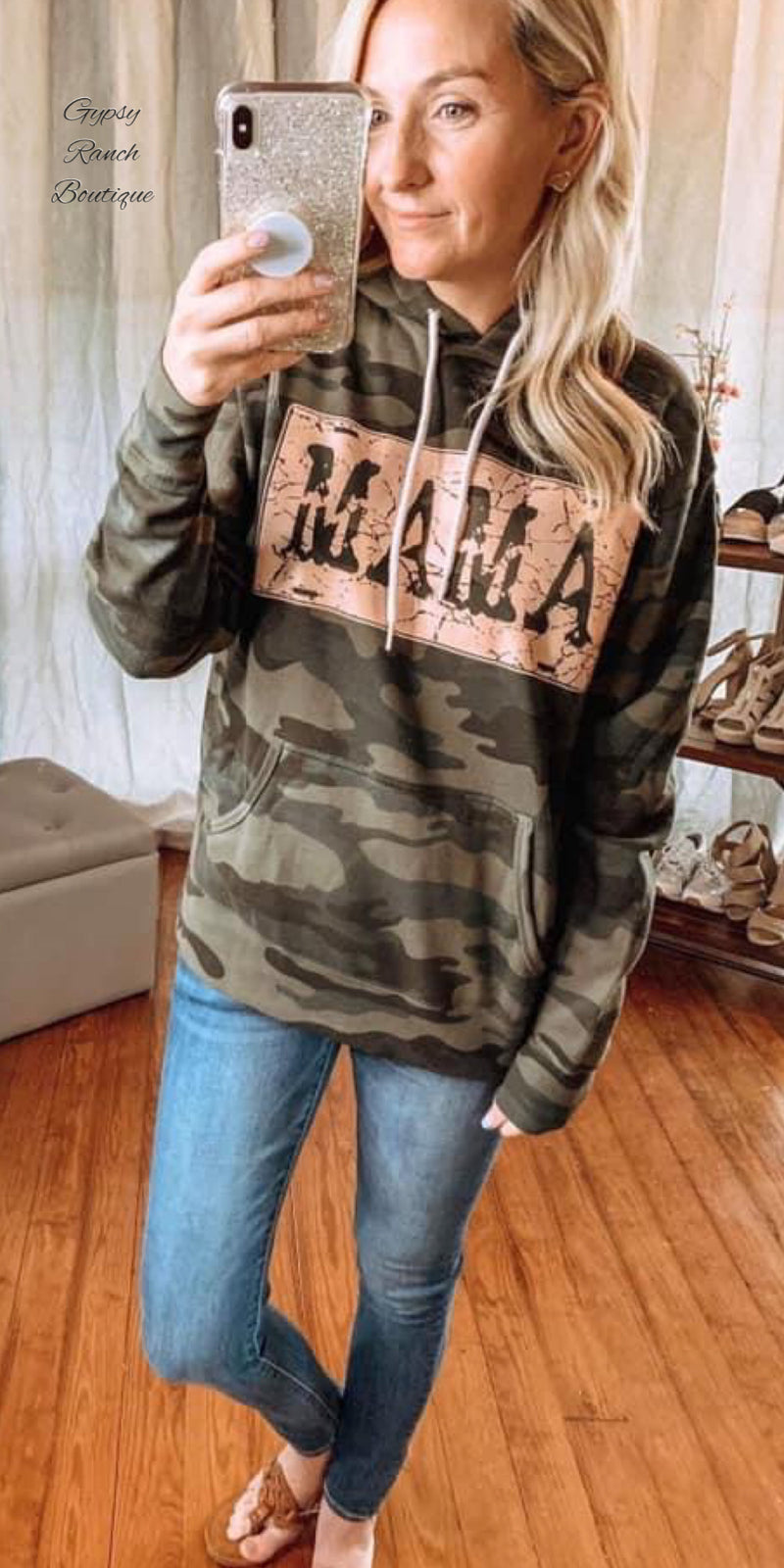 Camo MaMa Sweatshirt Hoodie  - Also in Plus Size