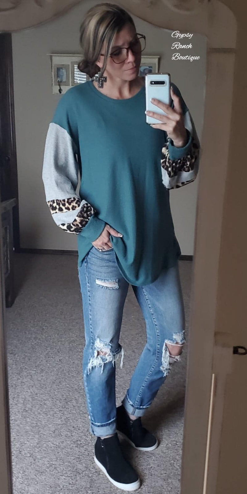 Arden Road Teal Leopard Bubble Sleeve Top - Also in Plus Size
