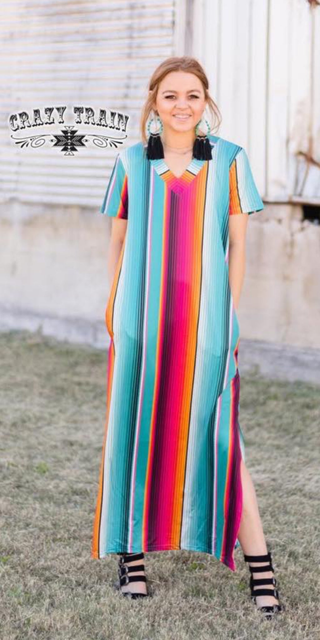 Sunday Sunrise Serape Maxi Dress - Also in Plus Size