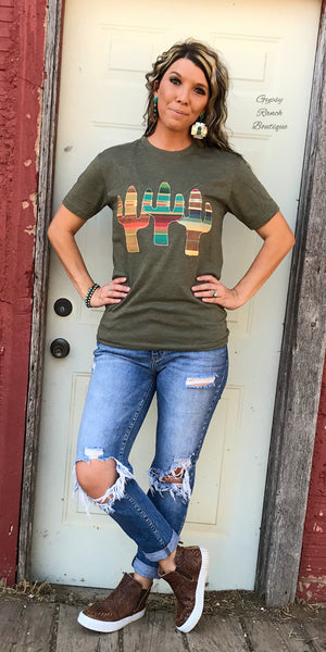 Revel Embroidered Cactus Serape  Top  - Also in Plus Size