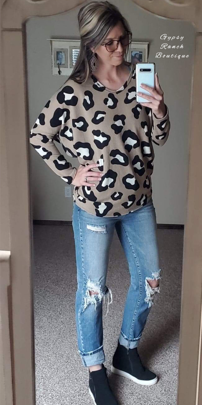 The Brazos Leopard Dolman Top - Also in Plus Size
