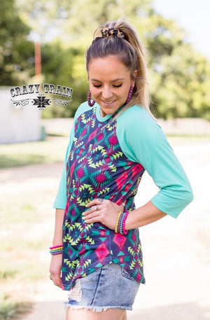 Canadian Aztec Raglan Top - Also in Plus Size
