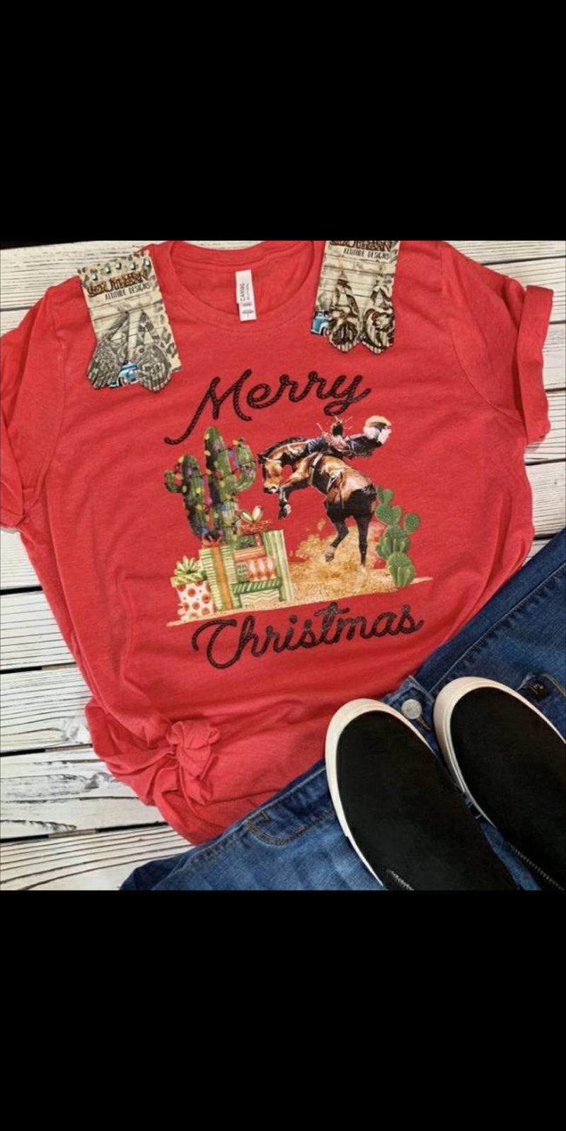 Merry Christmas Bronc Cowboy Top - Also in Plus Size