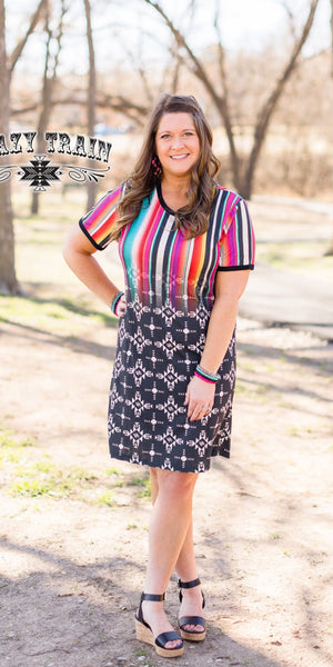 Fort Worth Nights Serape Aztec Dress - Also in Plus Size