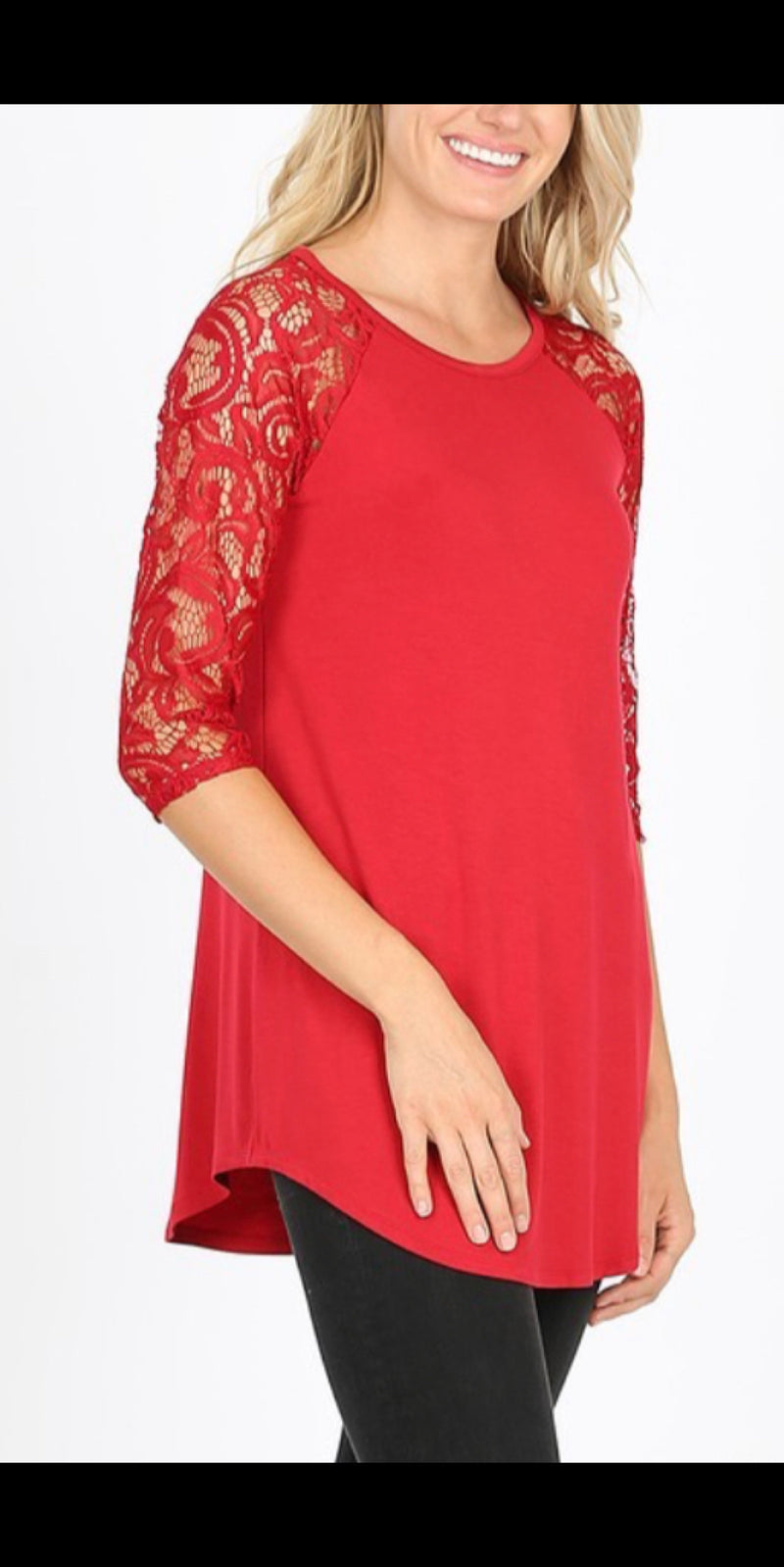 Rosita Red Lace Sleeve Top - Also in Plus Size