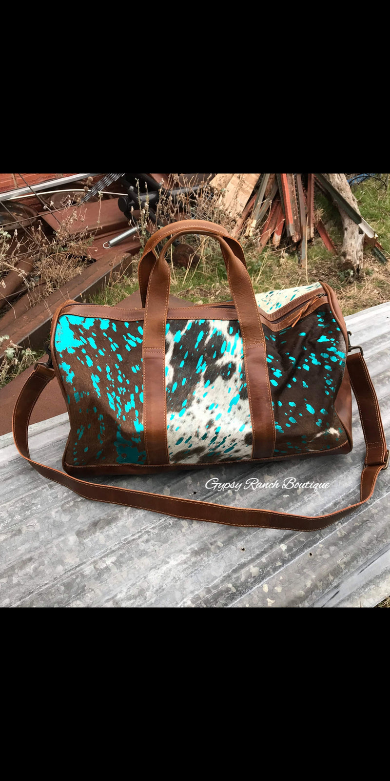 Take Me Away Cowhide Turquoise Weekender Duffle Bag