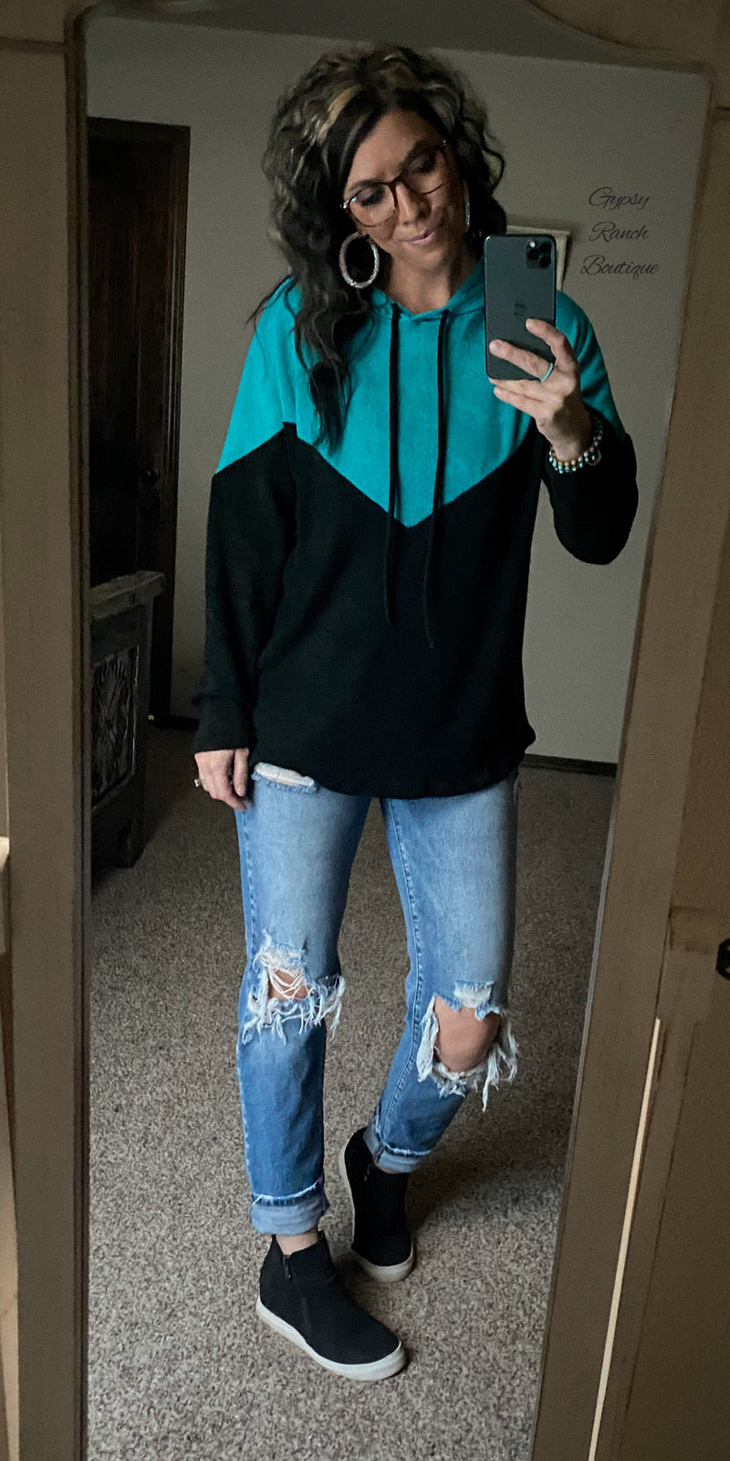Tulsa Turquoise & Black Hooded Pullover Top - Also in Plus Size