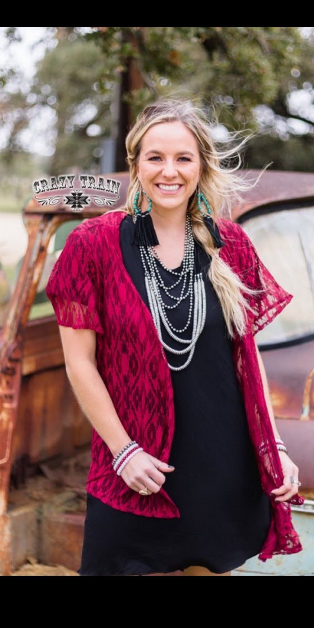 Albuquerque Wine Lace Kimono Cardigan - Also in Plus Size