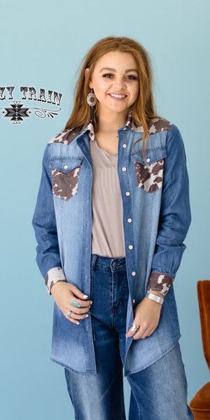Longhorn Lady Denim Top - Also in Plus Size