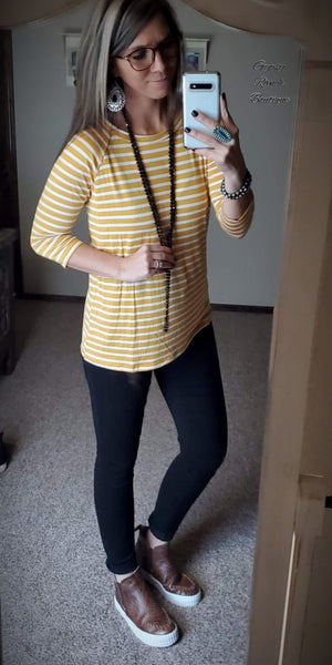 Carly Mustard Stripe Top
