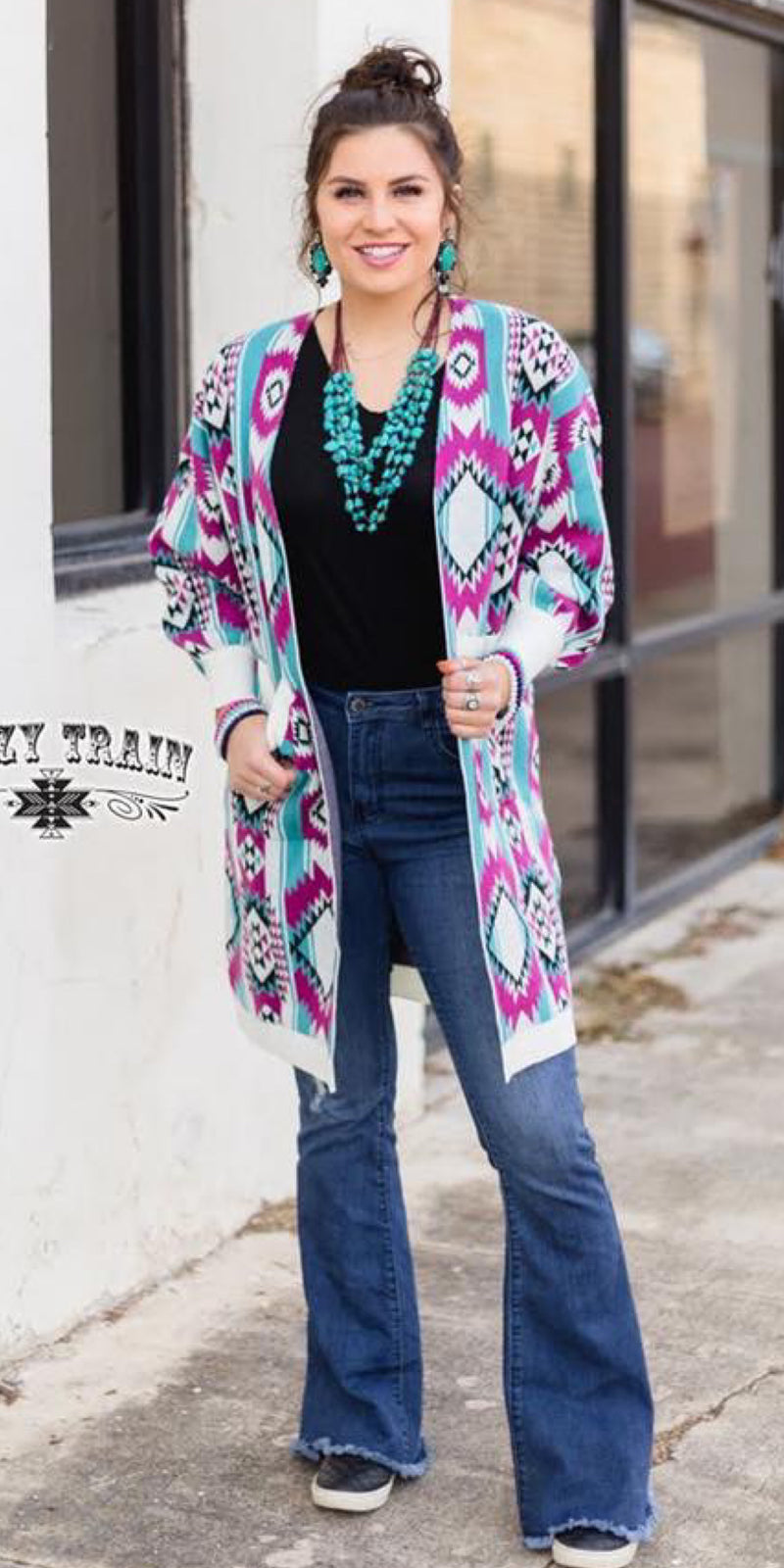 Cape Cod Aztec Cardigan - Also in Plus Size