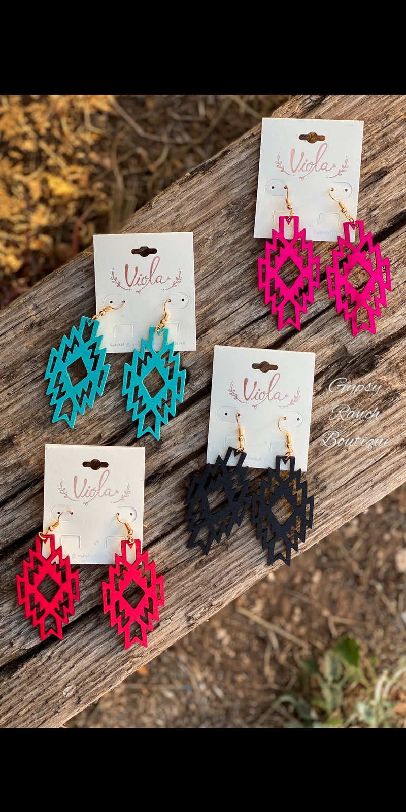 Aztec Wooden Earrings