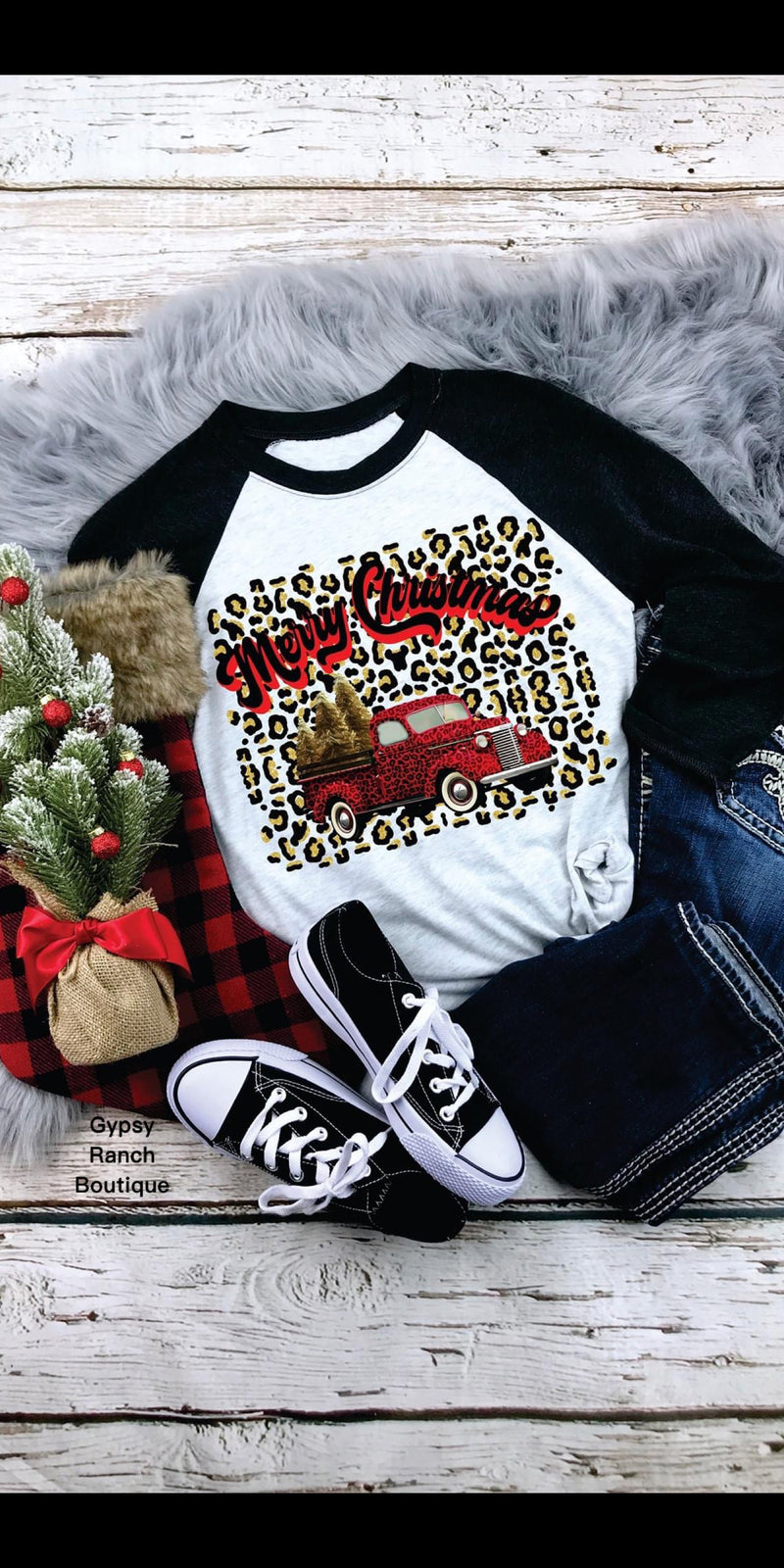 Merry Christmas Truck Leopard Raglan Top - Also in Plus Size