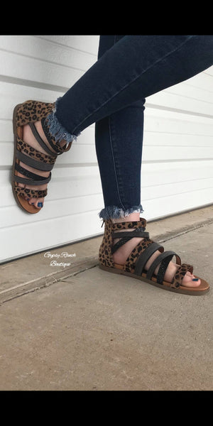 The Albany Leopard Metallic Sandals