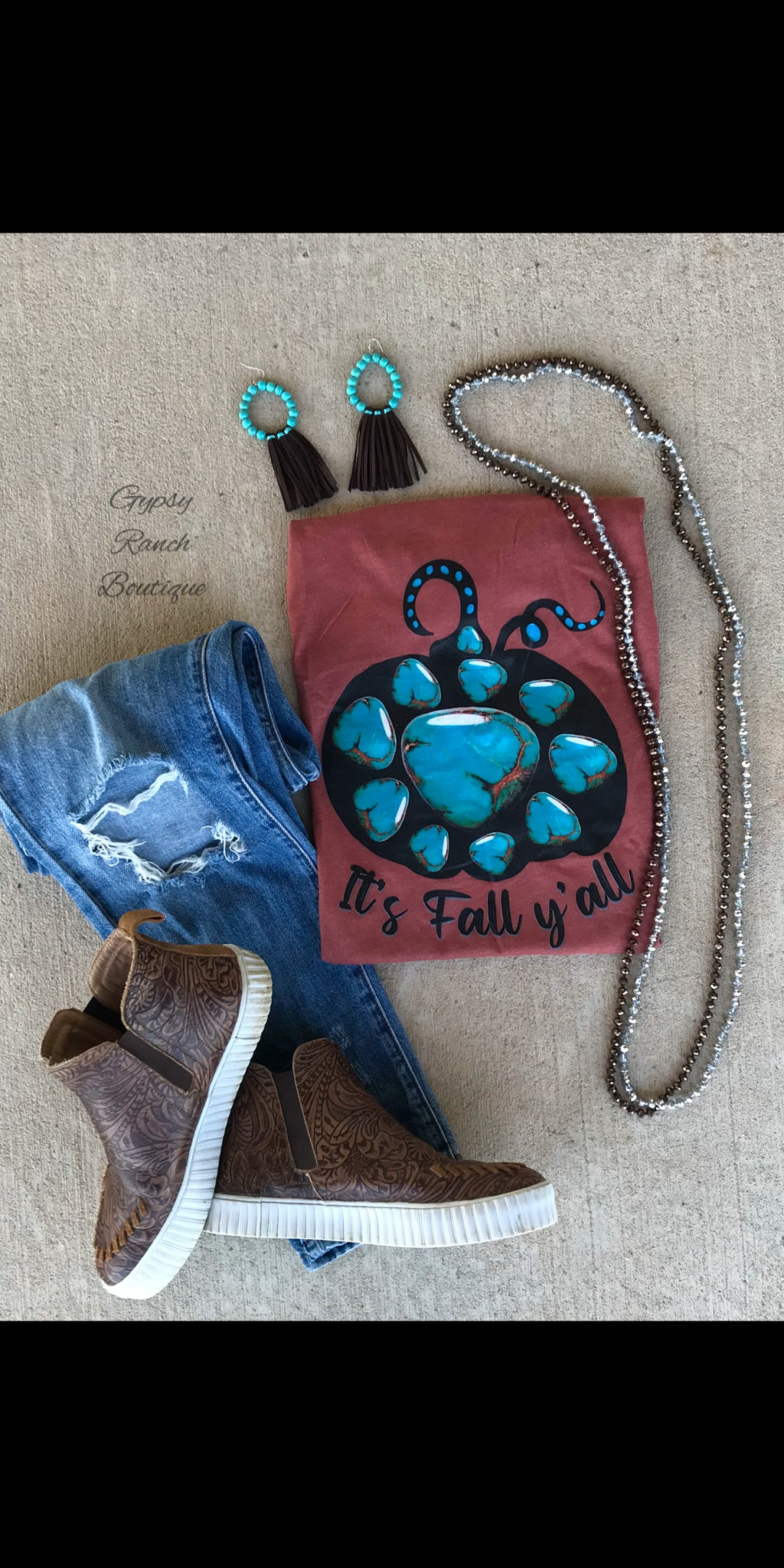 It's Fall Y'all Turquoise Squash Pumpkin Top - Also in Plus Size