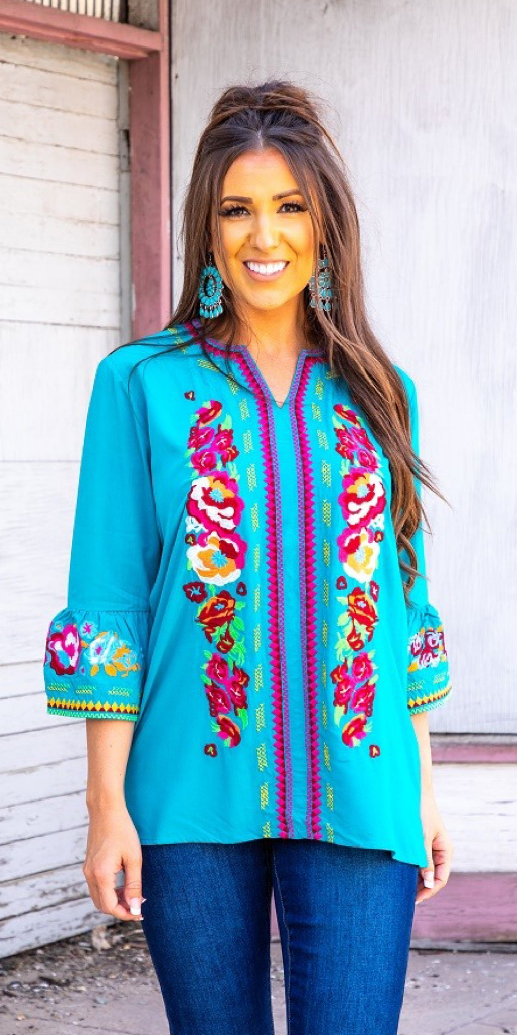 Stay With You Turquoise Embroidered Top
