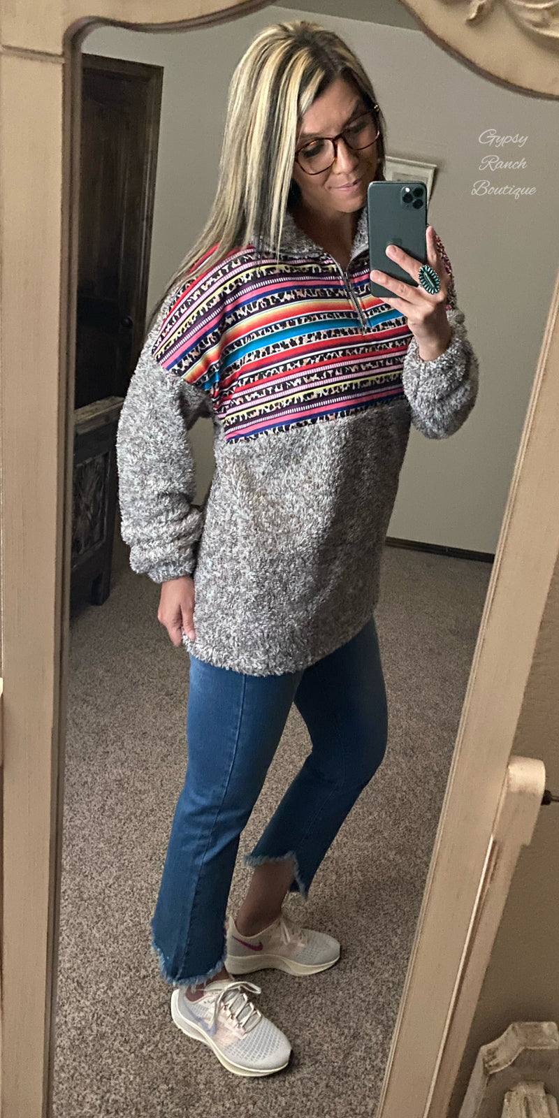 Raton Serape Leopard Pullover - Also in Plus Size