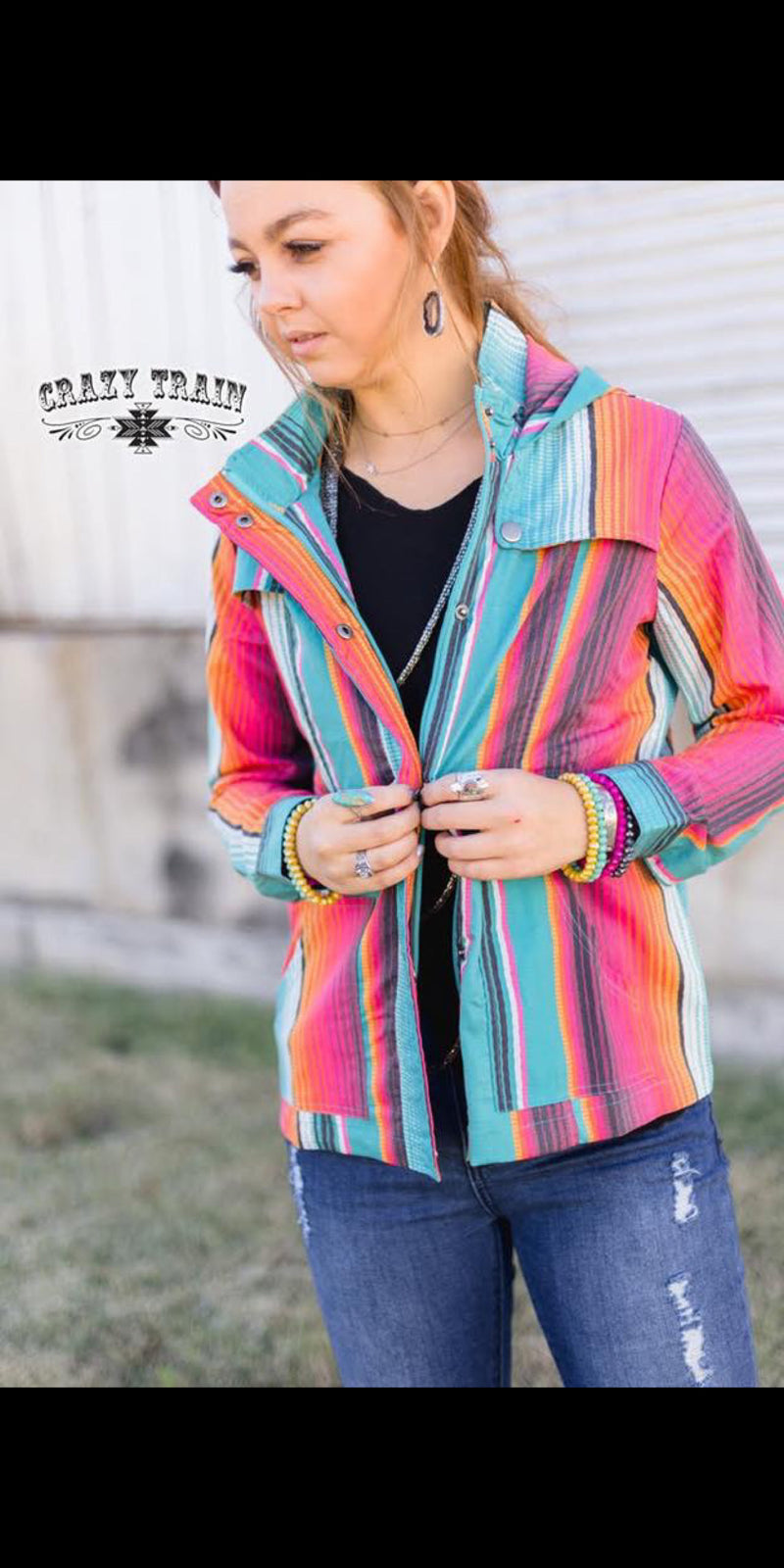 Summer Sunset Serape Cargo Jacket - Also in Plus Size