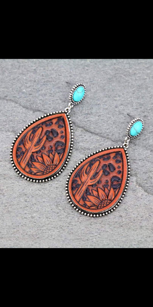 Denver Tooled Leather Turquoise Earrings