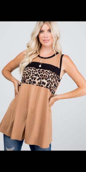 Camelot Camel Leopard Top - Also in Plus Size